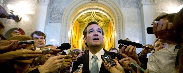Cruz wordt in 2013 beschouwd als een van de figuren die de 'government shutdown' van oktober 2013 in de hand werkt. Beeld reuters
