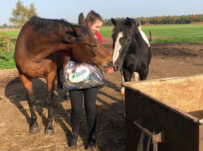 Emma de Waal met rechts Mustang, die overleed tijdens de blikseminslag in Maarheeze. Links  Riane die de klap wel overleefde. (archieffoto)