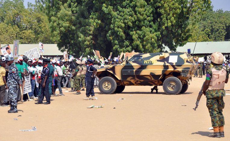 Veiligheidstroepen in Maiduguri Beeld afp