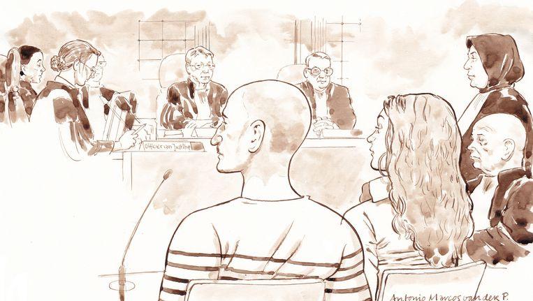 Antonio van der P. en Enise B. voor de rechtbank in Assen. Beeld anp