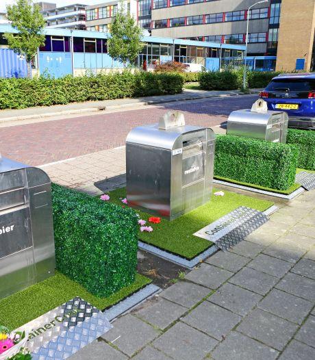 Minder zooi rond afvalcontainers? Groene matten moeten daar in Tiel bij helpen