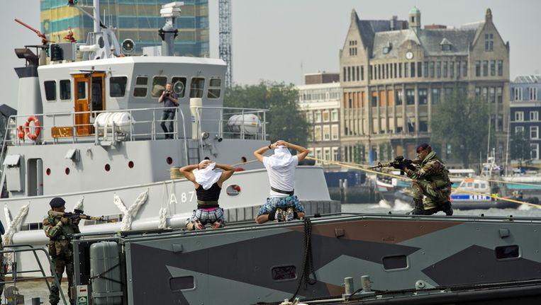 Een demonstratie van de Nederlandse marine tijdens de Wereldhavendagen vorig jaar in Rotterdam. © ANP Beeld