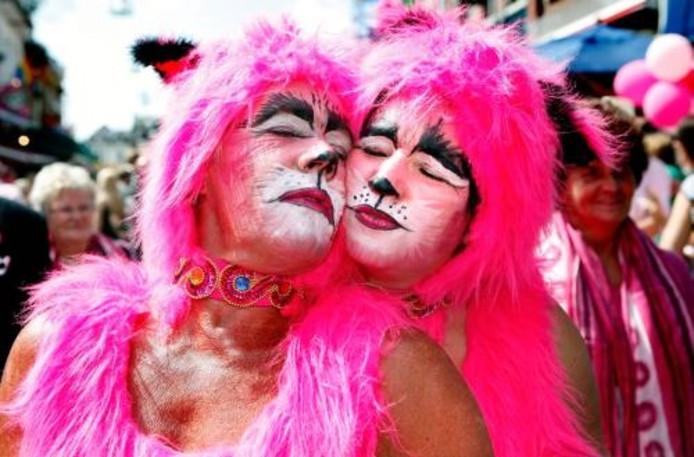Bezoekers zijn uitgedost als roze katten tijdens de 19e editie van Roze Maandag op de Tilburgse kermis. ANP
