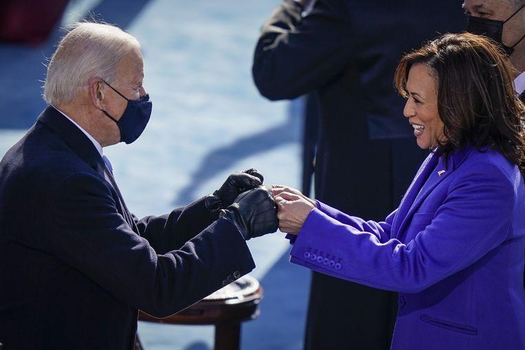 Joe Biden en Kamala Harris bij hun beëdiging. Beeld AFP