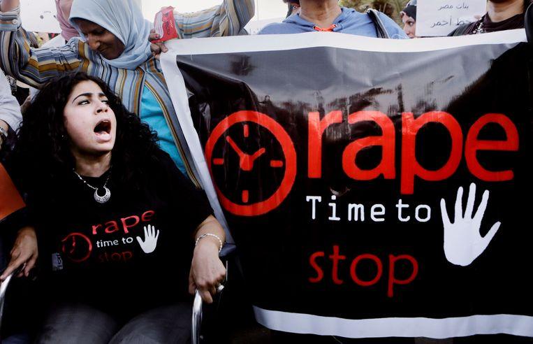 Egyptische vrouwen demonstreren tegen seksueel geweld in Cairo. Beeld AP