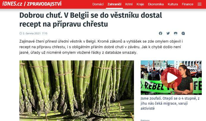 Belgische asperges op de populaire Tsjechische nieuwssite iDNES.