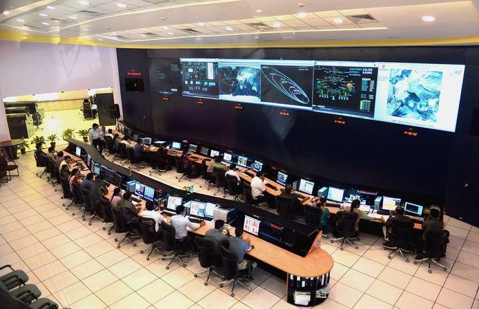 Het vluchtleidingscentrum van de Indiase ruimtevaartorganisatie ISRO in Bangalore.