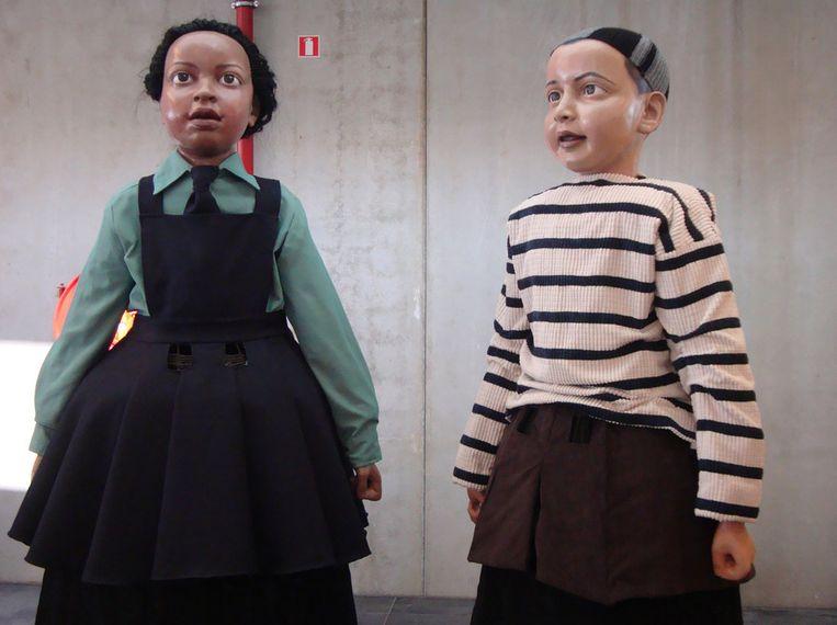 Noa en Amir, nieuwe reuzen voor Mechelen. Beeld BELGA