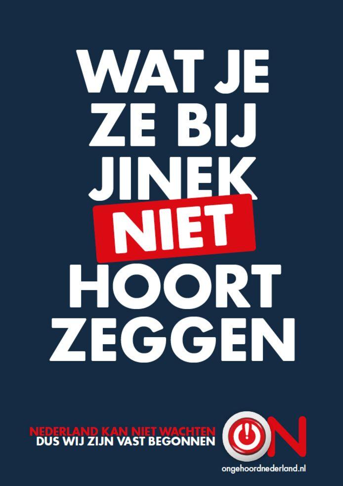 Een poster van de nieuwe omroep Ongehoord Nederland.