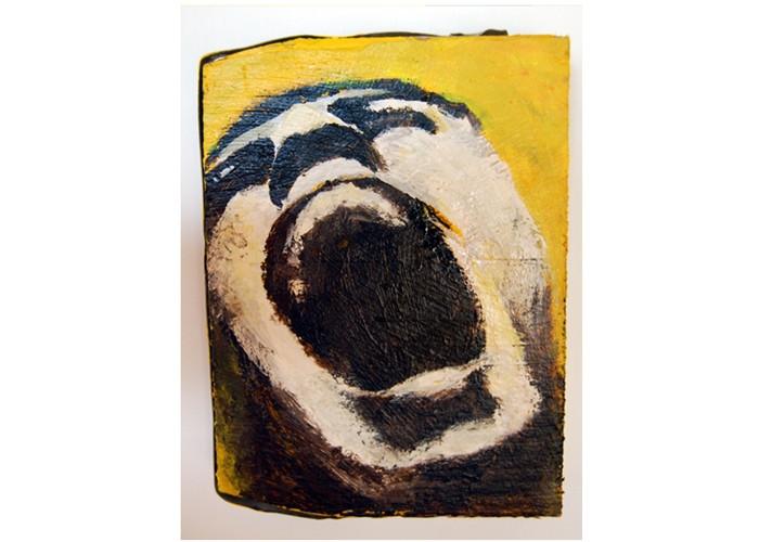 Het schilderij van Laurien Renckens, geïnspireerd door de foto van Noam Galai.