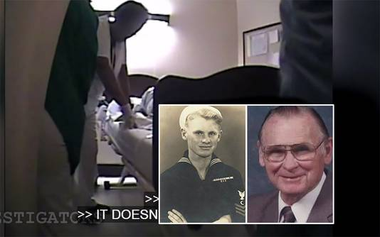 Verpleegsters om het bed van James Dempsey. Inzetjes: James als jonge militair en een foto van een oudere James.