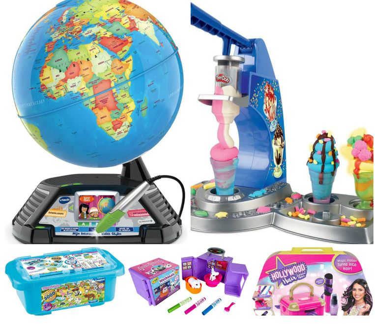 Boven: VTech Mijn interactieve Wereldbol en Play Doh Drizzy IJsjes speelset  Onder: Aquabeads Safari Box, Crayola Washimals Colour & Wash Tattoo Studio en Cool Maker Hollywood Hair Studio  Beeld rv