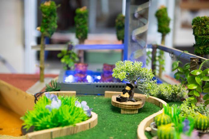 Een deel van de maquette van de Markt in Hengelo, waarmee ROC-studenten een prijs hebben gewonnen bij de landelijke bouwontwerpwedstrijd SMARTCirculair 2021.