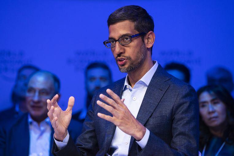 Sundar Pichai, baas van Google en moederbedrijf Alphabet, kijkt aan tegen een boete van, opgeteld, 8,25 miljard euro. Beeld EPA