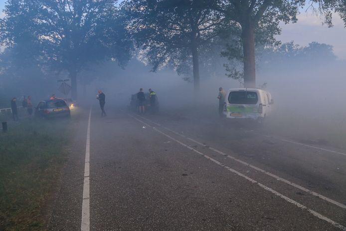Botsing door de rook in de Oude Peelstraat in Liessel.