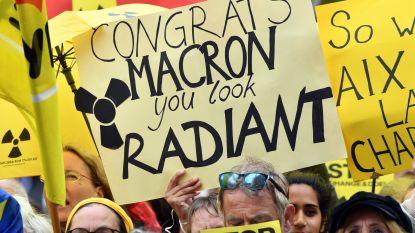 Protest tegen Franse ondersteuning van Belgische kerncentrales tijdens bezoek van Macron in Aken