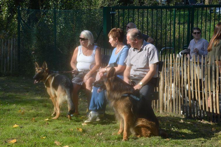 Enkele mensen genieten met hun hond op de hondenlosloopweide.