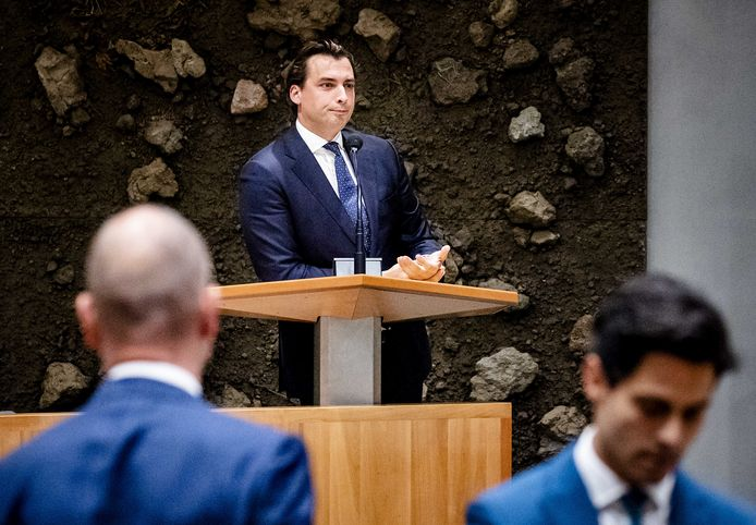 Gert-Jan Segers (ChristenUnie), Thierry Baudet (FVD) en Rob Jetten (D66)  tijdens de eerste dag van de Algemene Politieke Beschouwingen, het debat na de Troonrede op Prinsjesdag.