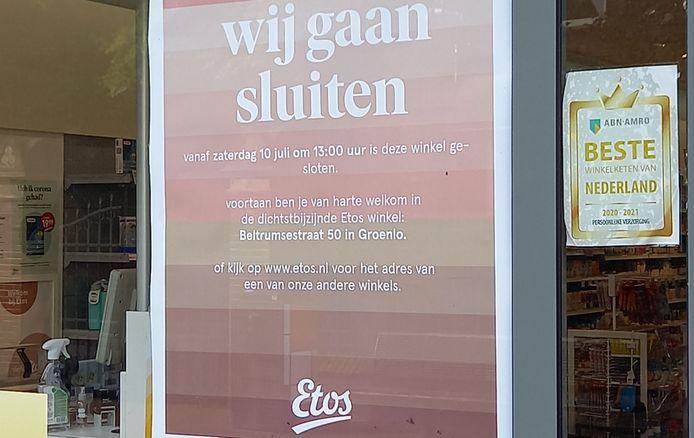 De Etos in Winterswijk gaat sluiten. Het is al het derde Etos-filiaal dat de deuren sluit in het dorp.