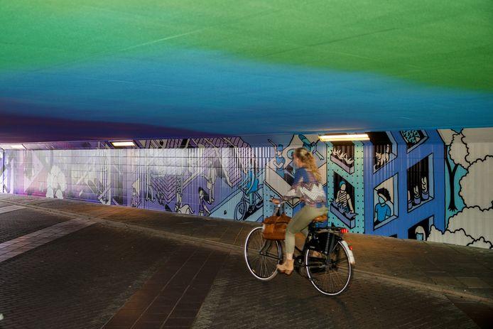 De tunnel is tot kunstwerk gemaakt door Johan Moorman.