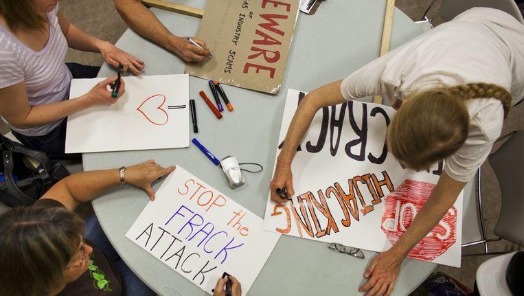 Protest in Pittsburgh in de VS tegen boren naar schaliegas Beeld epa