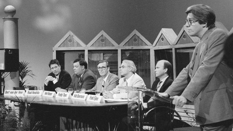 Bert van der Veer spreekt bij de presentatie van RTL5, in 1993 Beeld Hollandse Hoogte