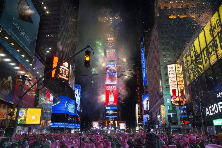 De feestelijkheden in New York op 1 januari 2015. Beeld AP