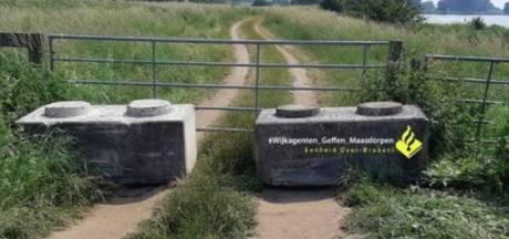 Betonblokken in uiterwaarden bij 't Wild om overlast te voorkomen