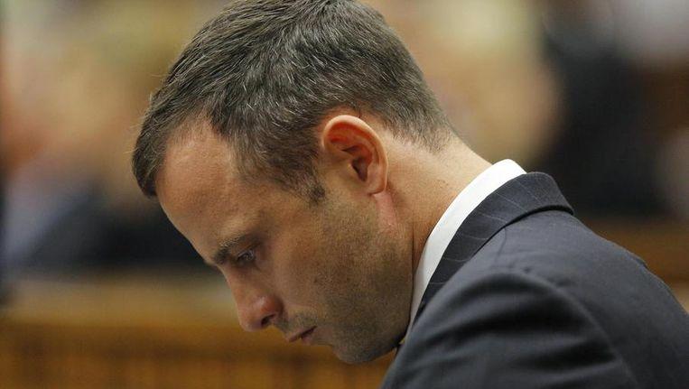 Oscar Pistorius aan het begin van de tweede dag van het proces. Beeld reuters