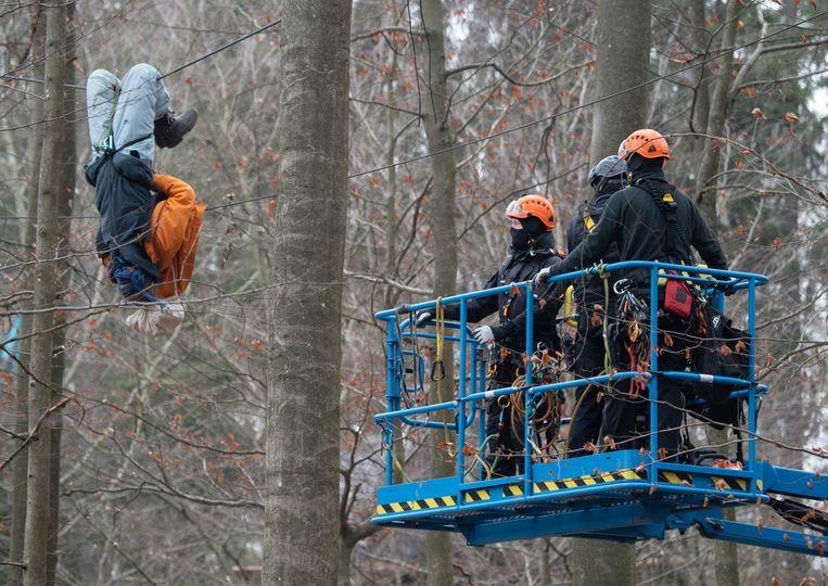 Activisten hangen in de bomen om de opmars van de politie te vertragen.  Beeld DPA