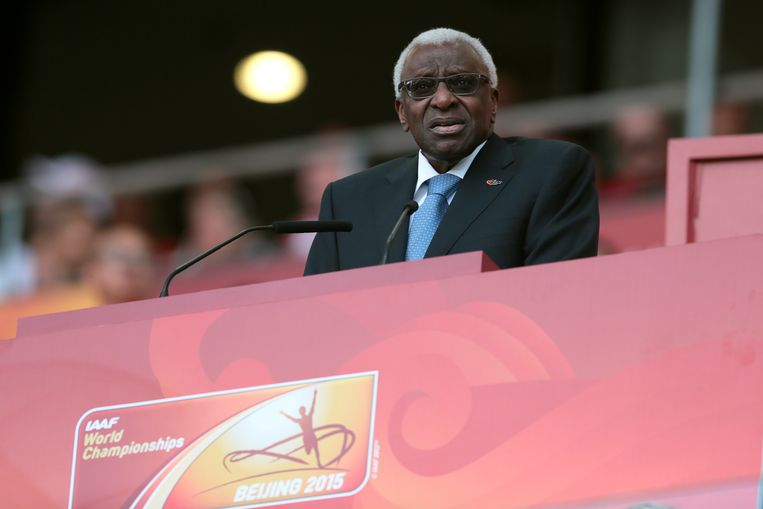 Lamine Diack (84). Senegal. Voorzitter atletiekfederatie IAAF, lid van IOC. Geschorst en zelf opgestapt. Beeld BELGAIMAGE