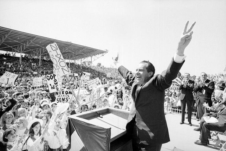 Richard Nixon tijdens zijn presidentscampagne in 1968.  Beeld ap