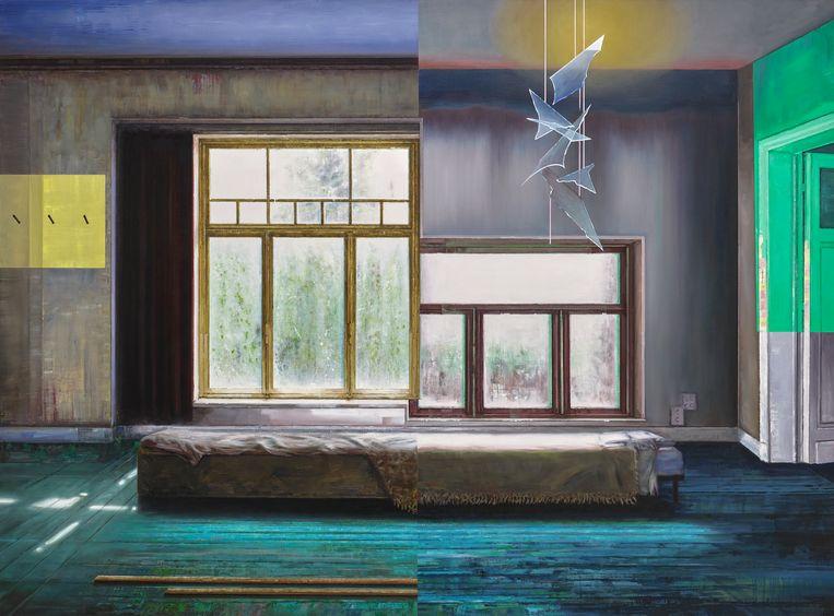 In het titelwerk koppelt ze interieurs in een soort split screen aan elkaar.  Beeld Lara de Moor