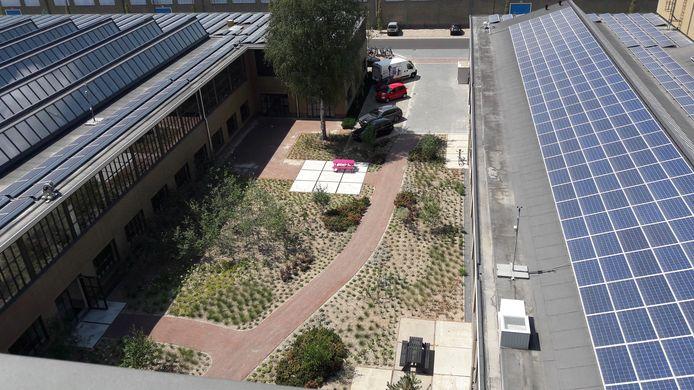 De twee productiehallen van gebouw TQ op Strijp-T in Eindhoven liggen vol met zonnepanelen, ertussenin is een binnentuin aangelegd.