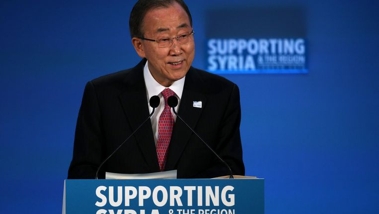 Ban Ki-moon tijdens de 'Supporting Syria Conference' in Londen. Beeld Getty Images