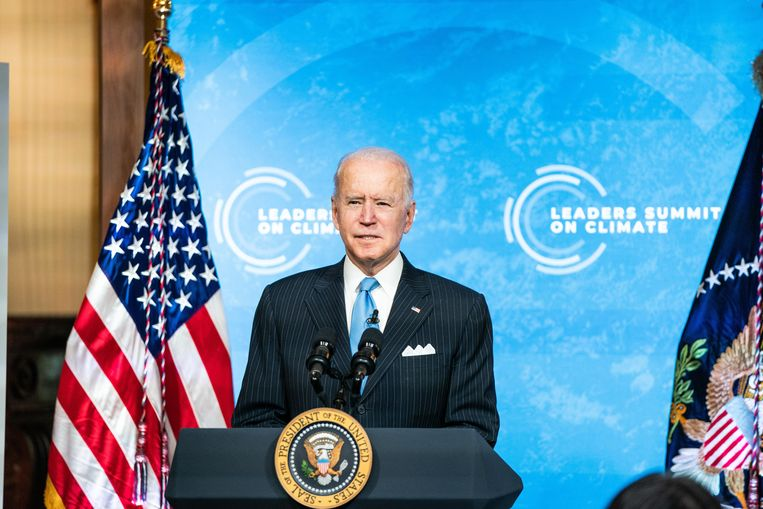 De Amerikaanse president Joe Biden tijdens de virtuele klimaattop. (23/04/2021) Beeld Photo News