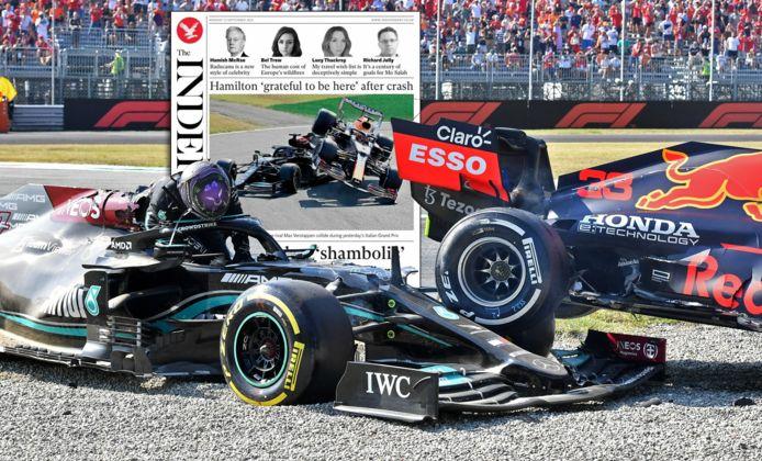 Lewis Hamilton stapt uit zijn Mercedes na de crash met Max Verstappen.