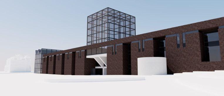 Het open atelier van Koen Vanmechelen wordt gebouwd naast de voormalige directeurswoning, die gerenoveerd wordt.