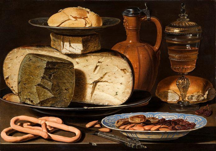 Stilleven met kazen, amandelen en krakelingen (1615), van Clara Peeters.