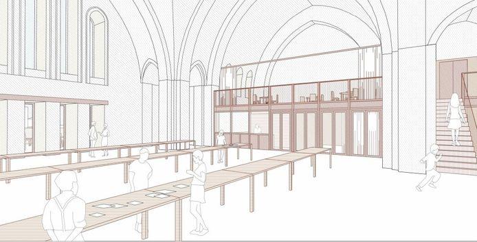 Een conceptbeeld van het interieur.