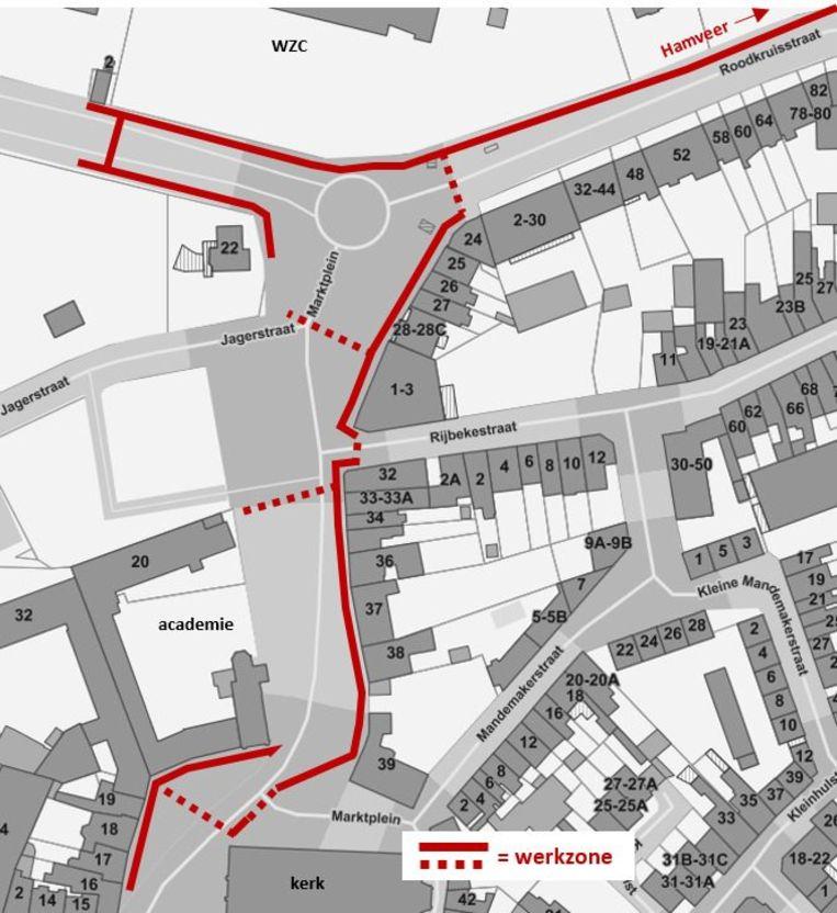 De rode lijnen duiden aan waar de werken zullen uitgevoerd worden.
