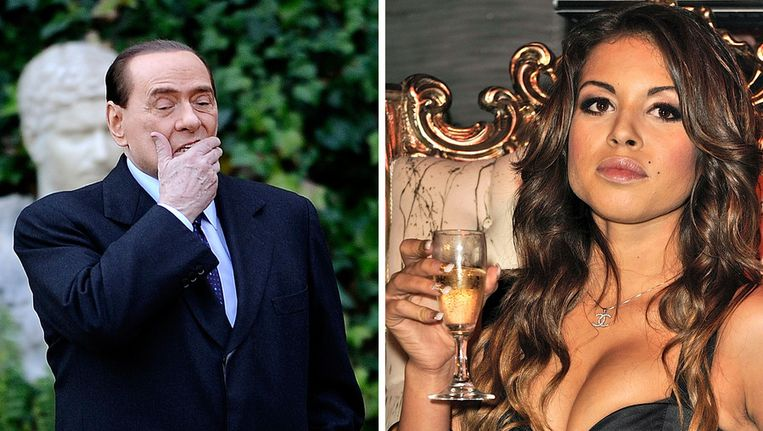 Voormalig premier Silvio Berlusconi en Karima el Mahroug (Ruby). © AFP Beeld
