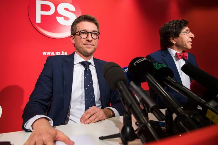 Di Rupo met de nieuwe Waalse PS-minister Pierre-Yves Dermagne. Beeld BELGA