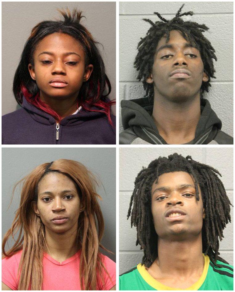 De vier daders van de misdaad: Brittany Covington (18), Jordan Hill (18), Tanishia Covington (24), Tesfaye Cooper (18).   Beeld REUTERS