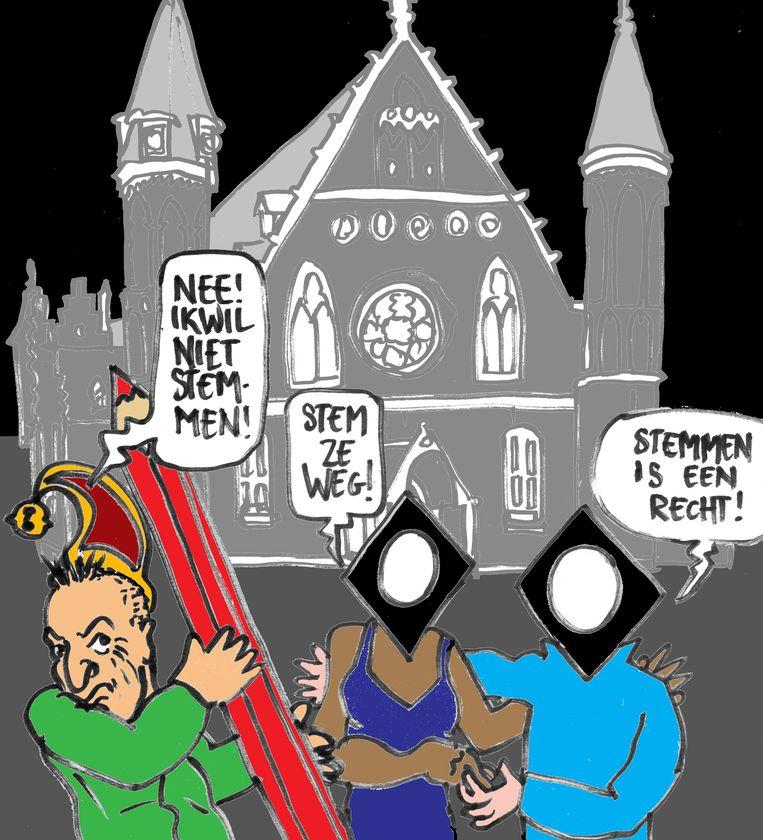 Fopspeenverkiezingen. Beeld Gabriël Kousbroek