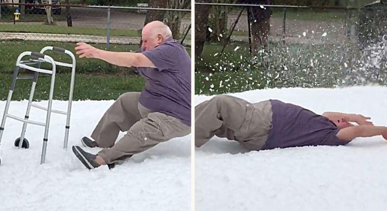 De familie van Albert zorgde ervoor dat er sneeuw in de voortuin werd gespoten. Voor zijn sneeuwengel.
