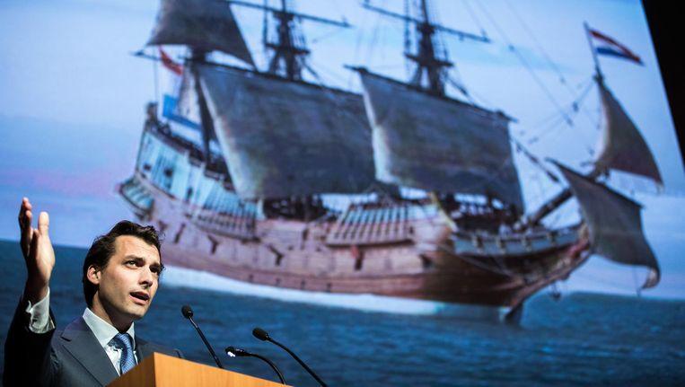 Fractievoorzitter Thierry Baudet tijdens zijn speech op het partijcongres van Forum voor Democratie. Beeld anp