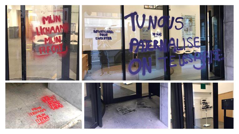 Feministische militanten bekladden hoofdkwartier N-VA. Beeld N-VA