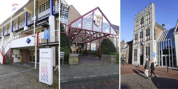 De gemeentehuizen Vijfheerenlanden in Leerdam, Meerkerk en Vianen.