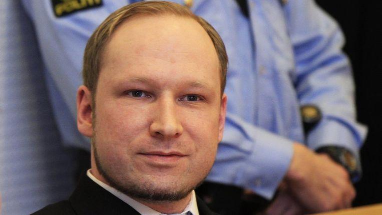 Anders Breivik, vorige maand tijdens het proces tegen hem in Oslo Beeld reuters